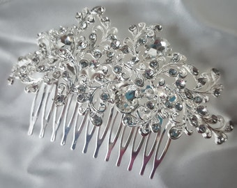 Simple Silver Rhinestone Hair Comb