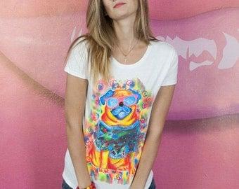 "T-shirt painting handmade ""Pug"""