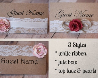 Burlap and Lace with Rose Name Cards/ burlap and lace wedding/ wedding/ place cards/ name cards/ rose name cards
