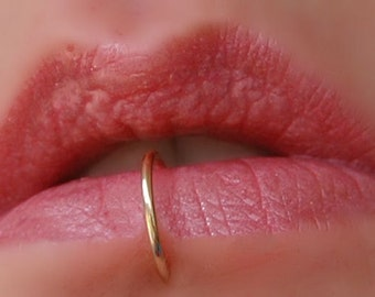 Gold Lip Ring / REAL Pierced Lip Jewelry / Thin Piercing Lip Ring / Lip Rings for Pierced Lips / Yellow Gold Lip Ring - CUSTOM SIZING