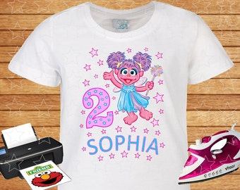 Any Name and Numeral on T-shirt Abby Cadabby. Iron on Transfer Instant Download, Abby Cadabby Sesame Street on T-shirt. Personalized T-shirt