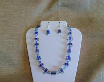 240 Modern Design Shades of Blue and Clear Cane Glass Beads Beaded Choker
