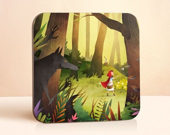 Red Riding Hood Coaster | Wolf Coaster | Fairy Tale Coaster | Gift for Him | Gift for Her | Wood Coaster | Animal Coaster | Drink Coaster