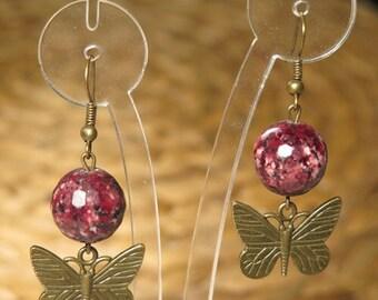 Hand made purple buterfly earrings