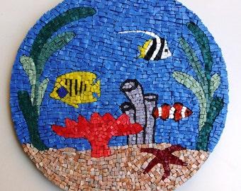 Mosaic Aquarium, Mosaic Art, Wall hanging, Smalti mosaic, Handmade item, Home Decoration, Gift Idea