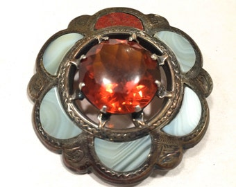 "Scottish Antique Brooch Pin - Cairngorm Citrine, Agate, Jasper - Victorian Style Pendant - 1-3/4"" Diameter"