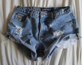 Vintage Distressed High Waisted Jean Shorts