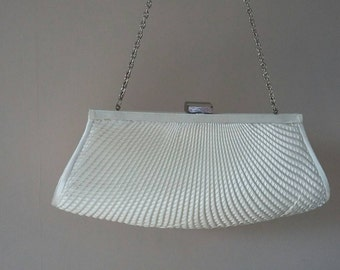 Vintage White Satin Evening Clutch Handbag