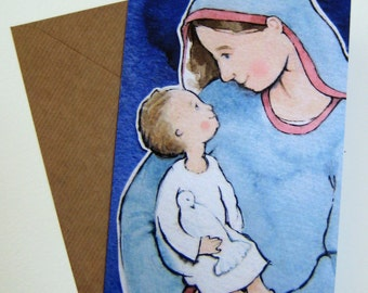 """Greetings card (5x7"""") from original watercolour of Jesus and Mary / motherhood."""