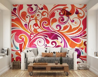 Purple And Red Swirly Wall Mural