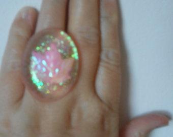 Statement Glitter Resin Ring
