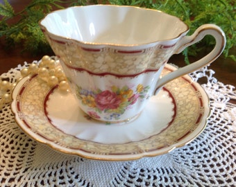 Gladstone ruffle edge bone china teacup and saucer