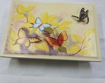 Wood Painted Butterfly Jewelry Box