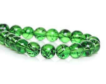 30 glass beads - 10 mm - dark green / H1-0582
