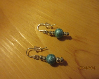 Sterling silver, blue sparkle, glass beads, earrings