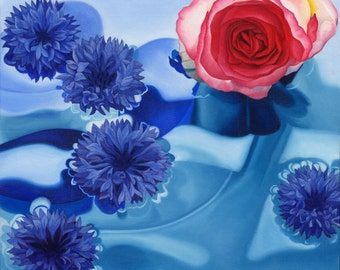 Hazy Jane I (pink rose & cornflowers)