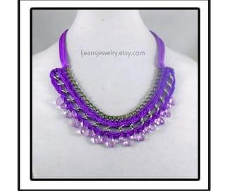 Purple Crochet Chain Necklace