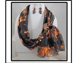 Black and Copper Scarf with Polymer Clay Buckel and Matching Earrings