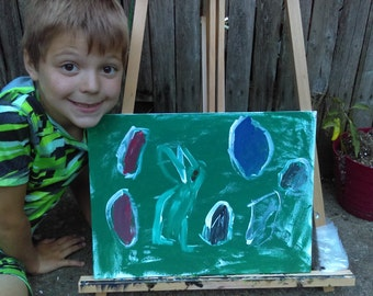 Bunny painting by the son