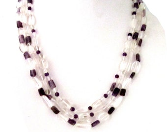 Natural Crystal & Amethyst Necklace - AJS348