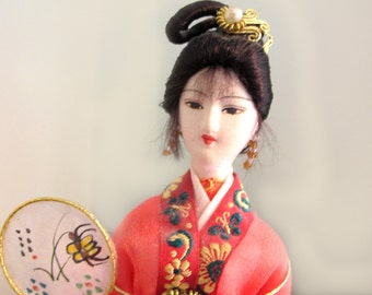 Hand Crafted Doll From China , Fabric, Vintage , hand-made