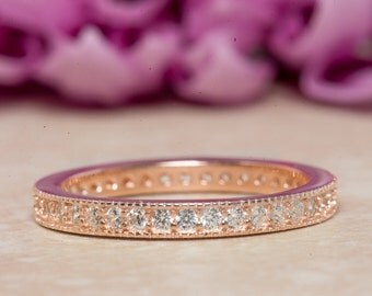 Eternity Ring, Eternity Band, Wedding Band, Rose Gold Plated, Diamond Simulants, Sterling Silver Ring