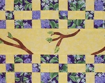 SALE-Row by Row 2014/ SEW A SEASON/spring/ Dark Lilac Row Kit (Includes: pattern, lilac/yellow/brown/green trees, heat n' bond) (#O24)