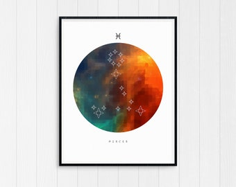 Pisces Wall Art, Zodiac art print, Pisces Printable Birthday Gift, Pisces Constellation, Horoscope Decor, Digital Download, Zodiac Art