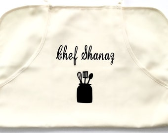 Personalized apron, foodie, baking, cook, bbq, kitchen, utensils, host, catering, gifts for him her, lunch, dinner, hosting, chef, meal prep