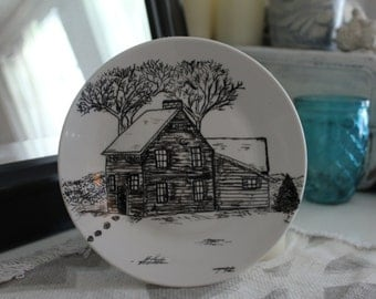 Hand Painted Decorative  Platter/ Winter Cabin
