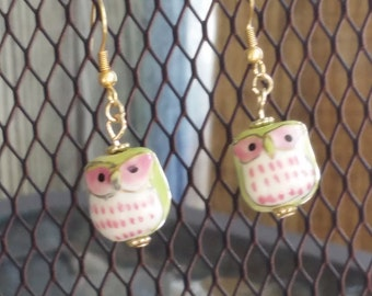 Gold Pink and Green Owl Earrings