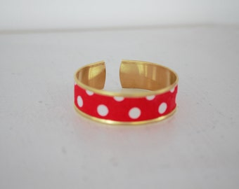Red white polka dots fabric Cuff Bracelet