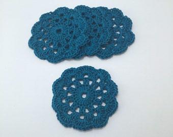 Handmade Vintage Kitsch Granny Doily Coasters set of 4 Petrol Blue