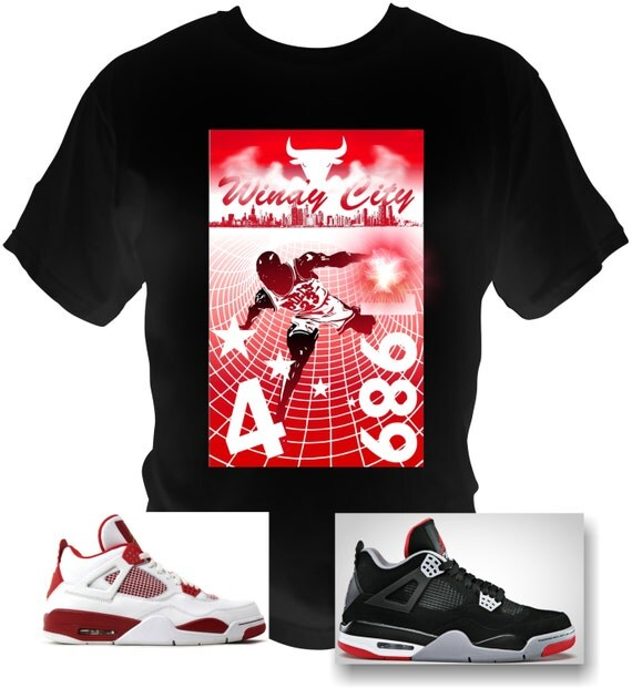 MJordan 4 Cement 4's Michael Jordan T-Shirt 89 RETRO CHICAGO BULLS Alternate