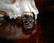 Large Unusual One of a Kind Hand Carved Real Bone Memento Mori Men's Human Skull Ring / Size 10 1/2 / Free Insured USA Shippinhg