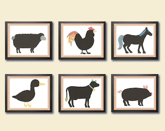 Printable farm animal nursery art, INSTANT DOWNLOAD Digital children's art, nursery decor, cow, pig, horse, sheep, rooster, duck, farm art