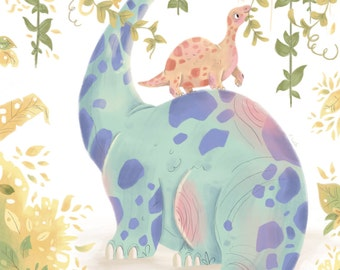 Diplodocus and Baby // A4 Print