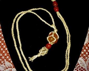 Macrame Carnelian & Quartz Boho Necklace