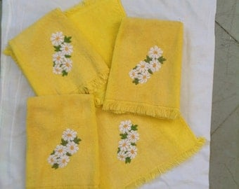 Yellow embroidered cotton hand towels