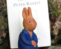 Wood Carving Peter Rabbit and Beatrix Potter Book Hand Painted Water-based Paint Basswood Hand Carved Animal