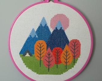 Mountain Camping - Cross Stitch Pattern (Digital Format)