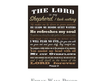 The Lord is My Shepherd Bible Verse on Canvas Christian Bible Verse Wall Decor Psalm 23 Gallery Wrapped Canvas Christmas Gift Anniversary