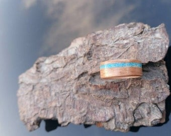 Cherry and turquoise bentwood ring