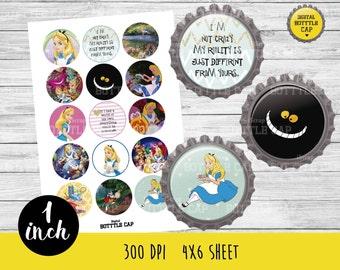 COD31-50% OFF SALE Alice in Wonderland bottlecap-1 inch Bottlecap-Printable Image-Alice in wonderland collage sheet-Disney bottlecap-Alice