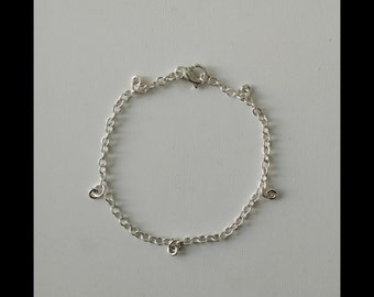sterling silver chain bracelet with rings