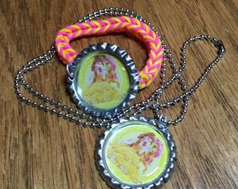 Disney Princess Belle Bottle Cap Jewelry Set