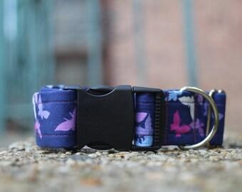 Purple Butterflies Dog Collar