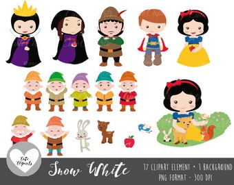 50% OFF SALE Snow White clipart - Snow White Digital Clip Art-Princess Snow White Prince Charming,Evil Queen, Fairytale Princess Clipart