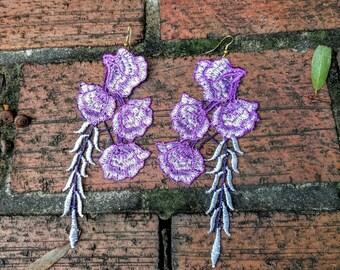 Purple Lace Earrings, Floral Lace Earrings, Purple Flower Earrings, Purple Lace Earrings, Statement Earrings, Gifts for her, Big Earrings