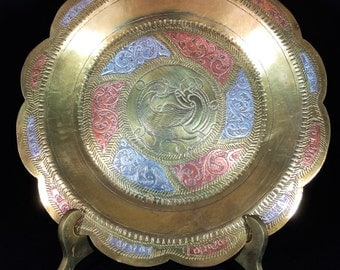 Engraved Brass vintage dish / plate with bronze and silvery inlay